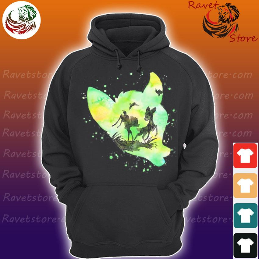 BambI green watercolor silhouette fill Hoodie