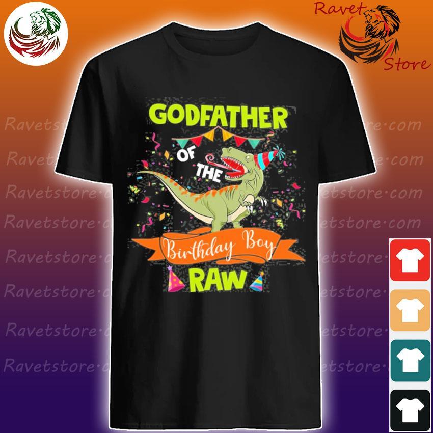 Dinosaur godfather birthday boy matching family shirt