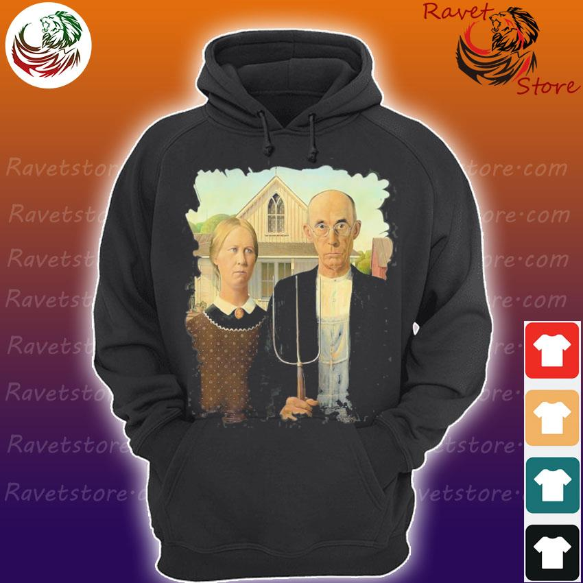 Distress American gothic famous painting by grant wood's Hoodie