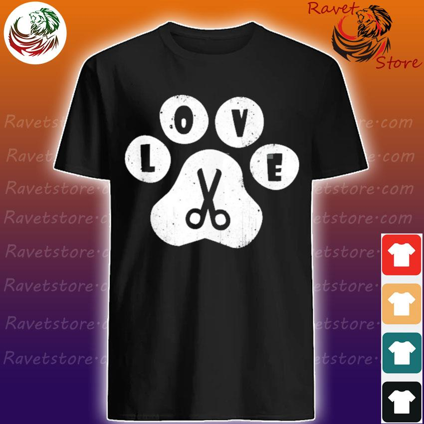 Dog grooming love dogs pet daycare groomer vintage paw print shirt