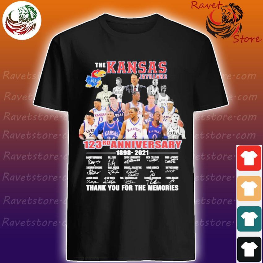 Official The Kansas Jayhawks 123rd Anniversary 1898 2021 signatures thank you shirt