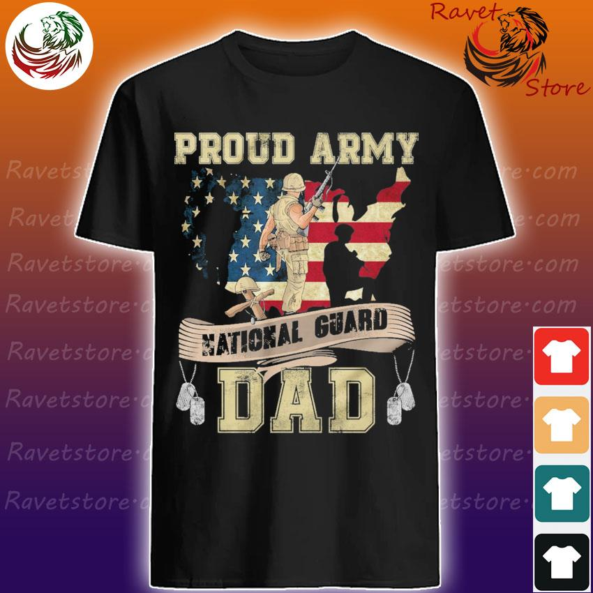 Proud Army National Guard Dad Dog Tags US Flag Military Father T-Shirt
