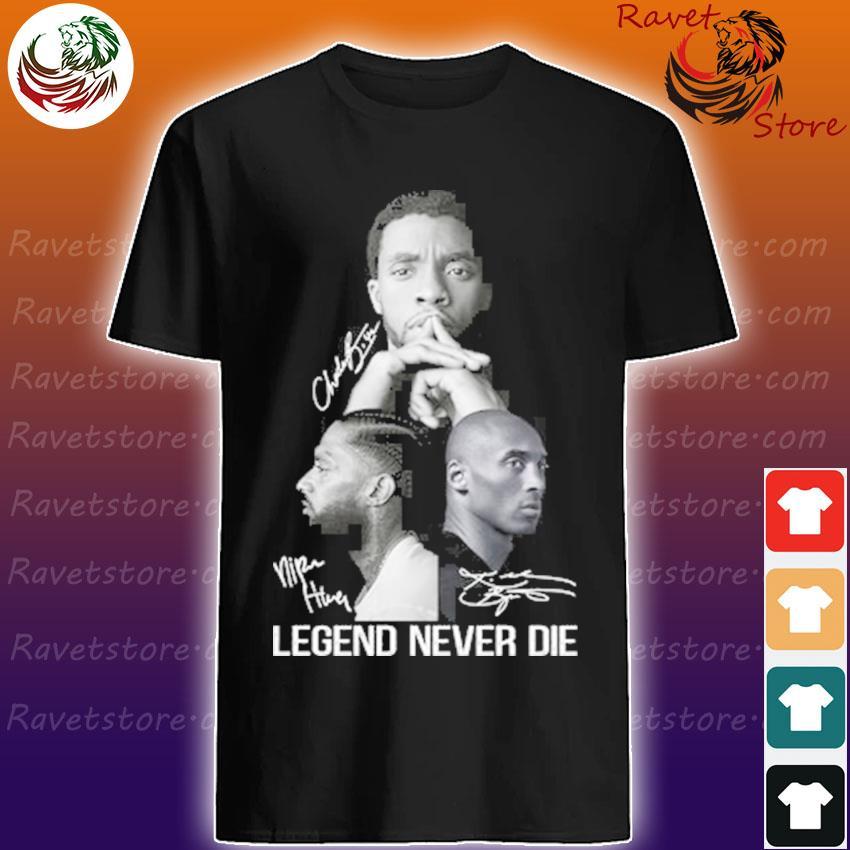 Chadwick Boseman and Nipsey Hussle and kobe bryant Legend Never die signatures shirt