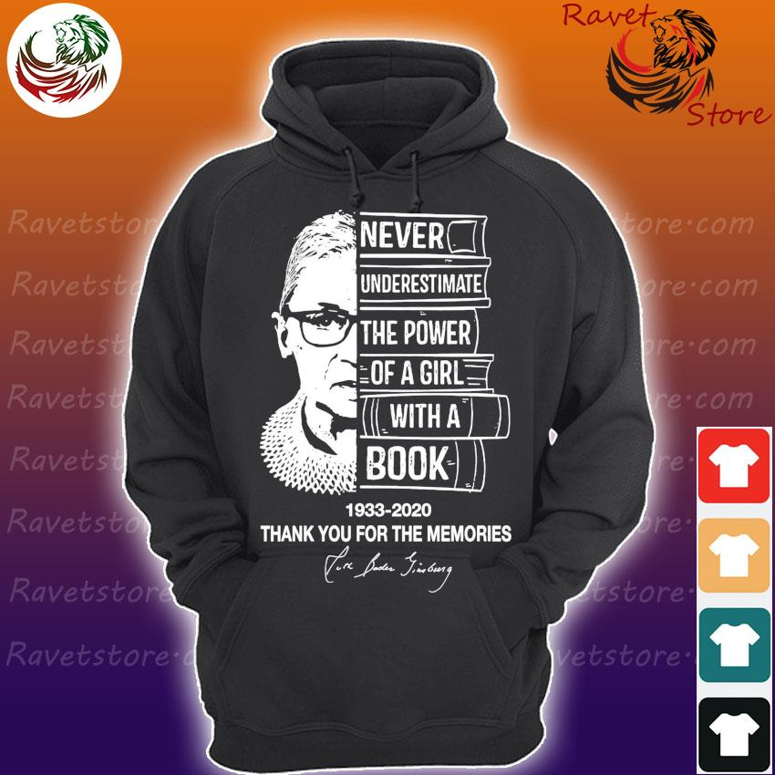 Ruth Bader Ginsburg Never underestimate the power of a Girl with a Book 1933 2020 thank you for the memories signature s Hoodie