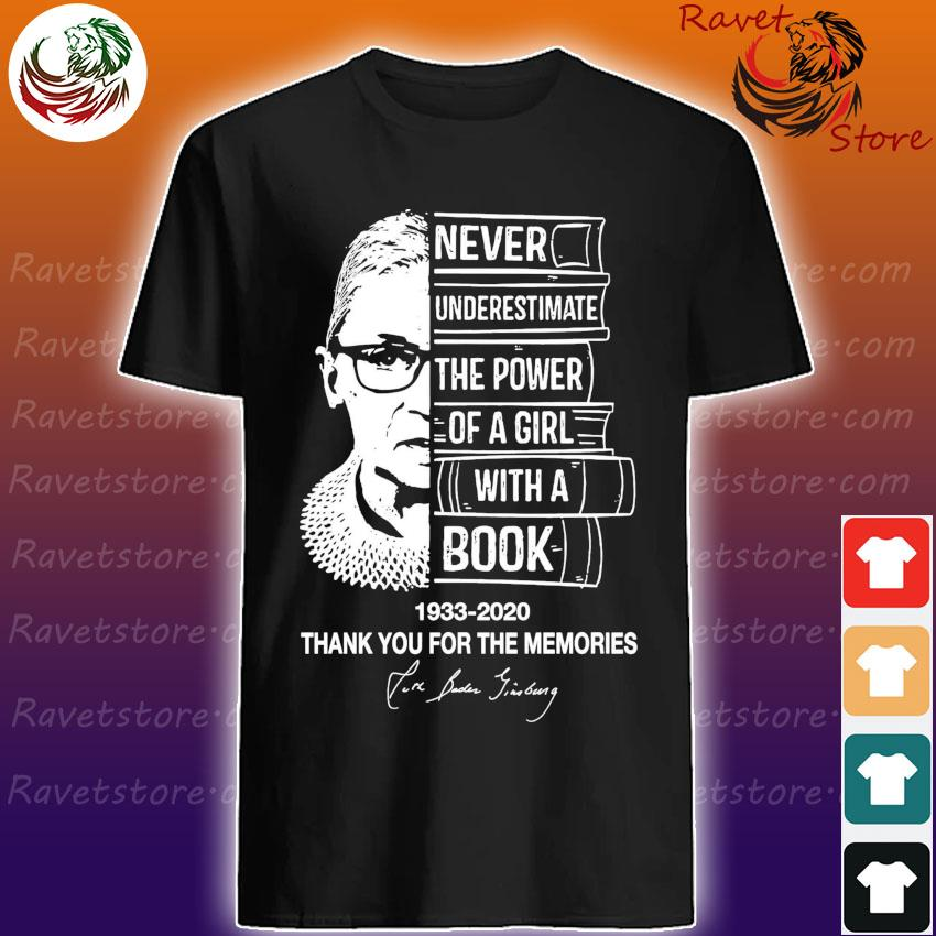 Ruth Bader Ginsburg Never underestimate the power of a Girl with a Book 1933 2020 thank you for the memories signature shirt