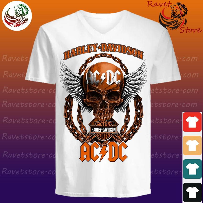 Skull Angel Wings Harley Davidson And Ac Dc Band Shirt Hoodie Sweater Long Sleeve And Tank Top