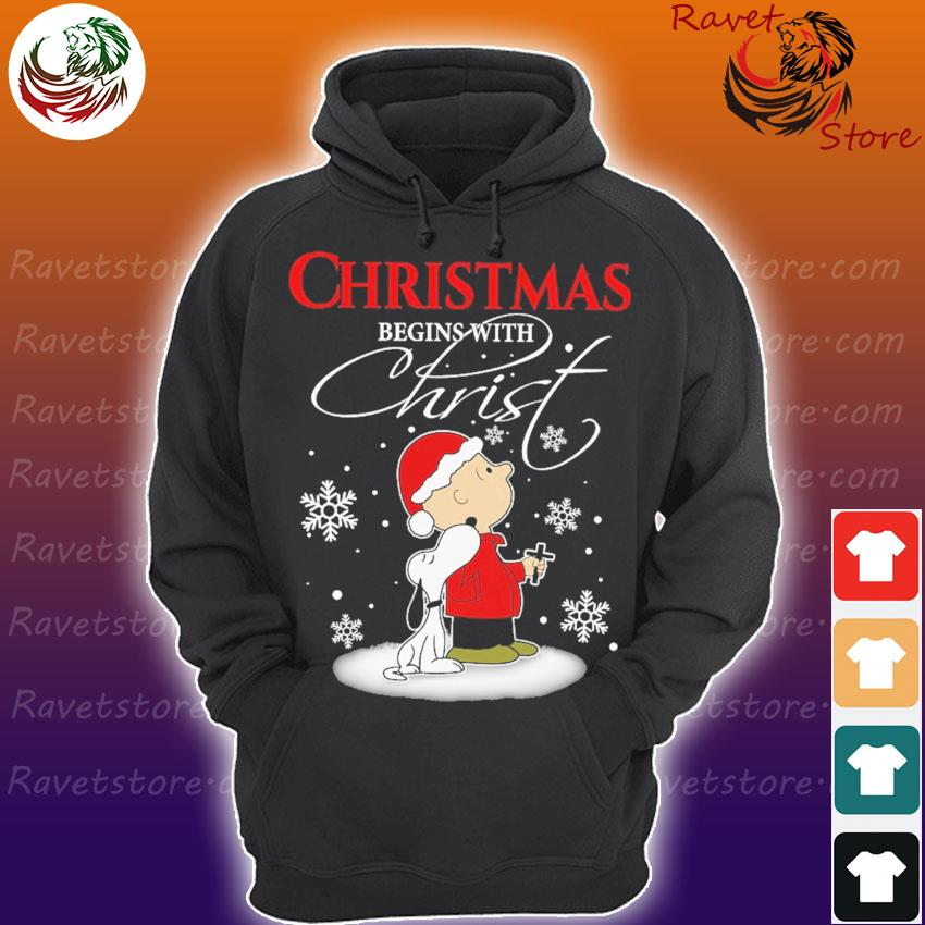 Snoopy and Chris Brown Cross Christmas begins with Christ s Hoodie