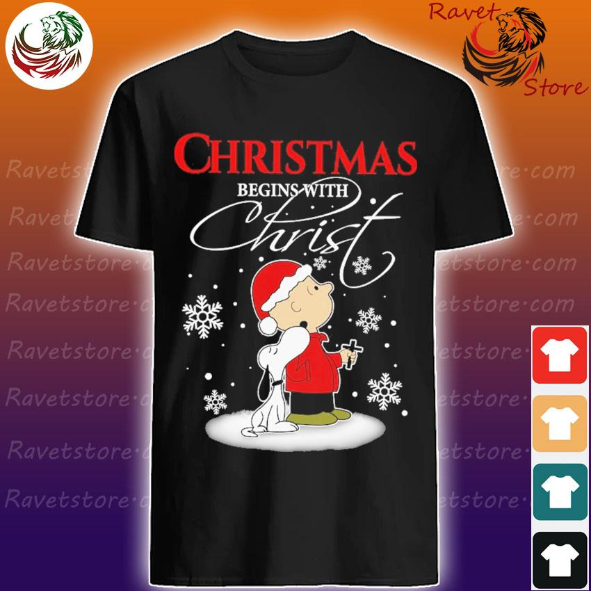 Snoopy and Chris Brown Cross Christmas begins with Christ shirt
