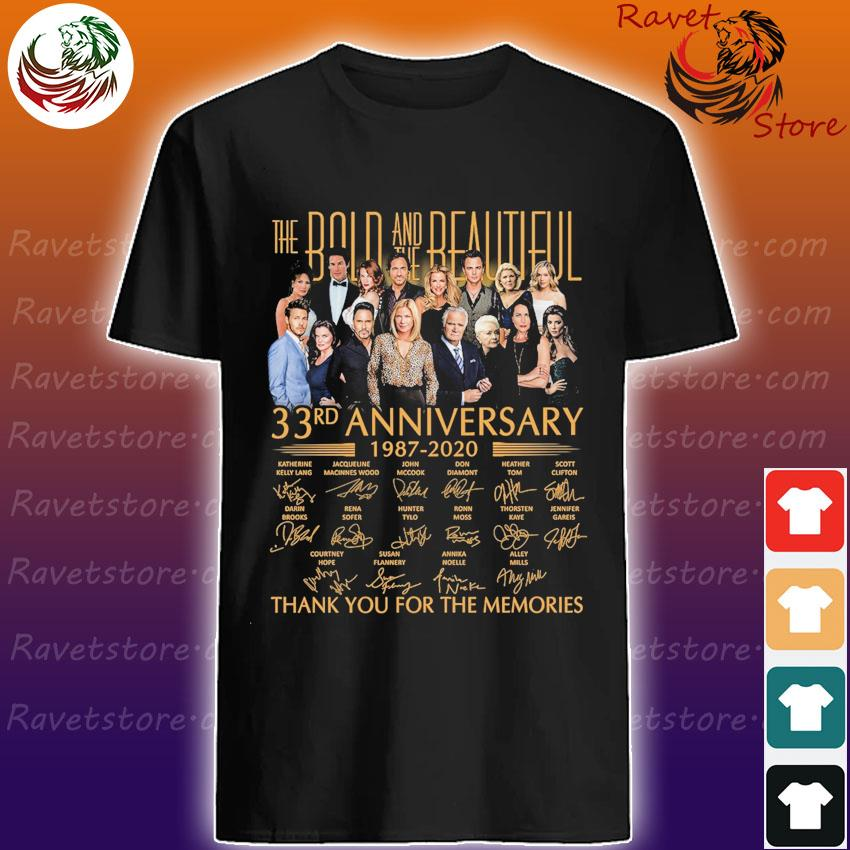 The Bold and the Beautiful 33rd anniversary 1987 2020 thank you for the memories signatures shirt
