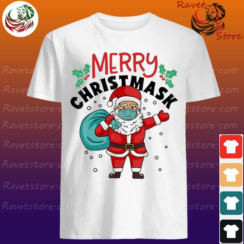 Official Santa Claus face mask Merry Christmas shirt