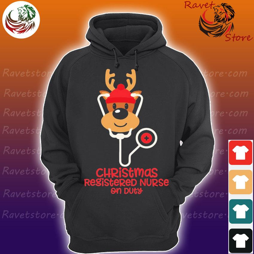 Reindeer Nurse Christmas Registered Nurse on Duty s Hoodie
