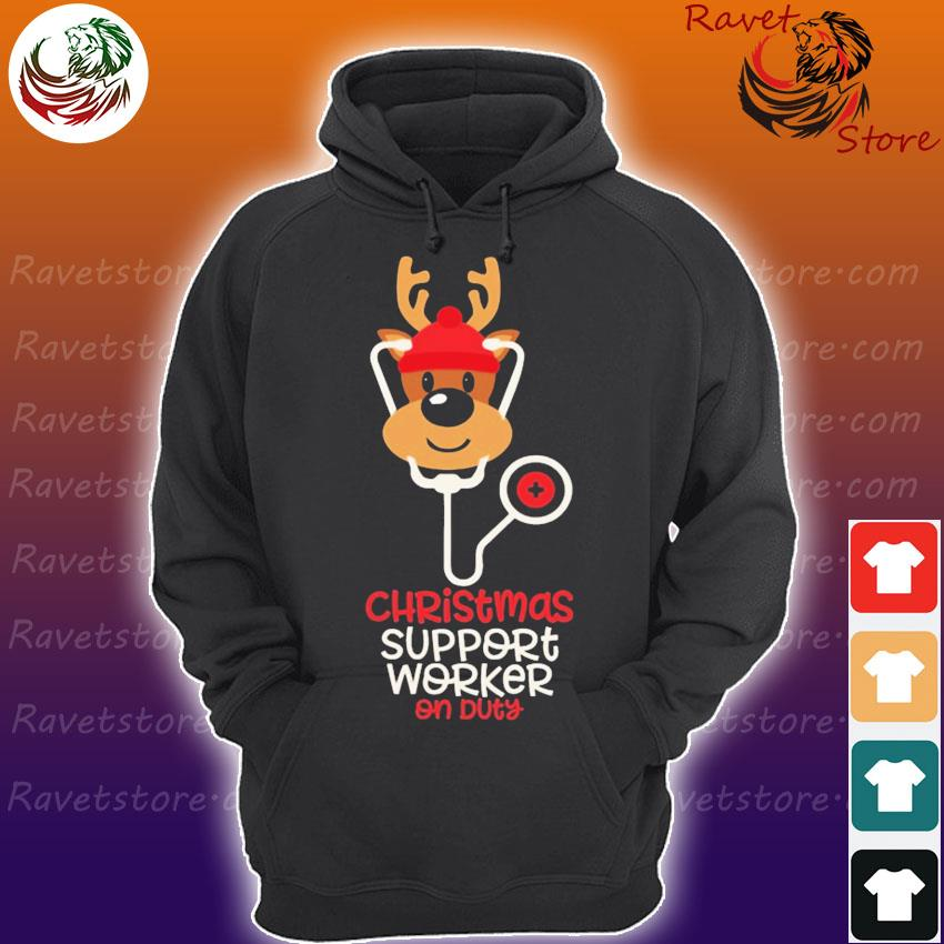 Reindeer Nurse Christmas Support Worker on Duty s Hoodie