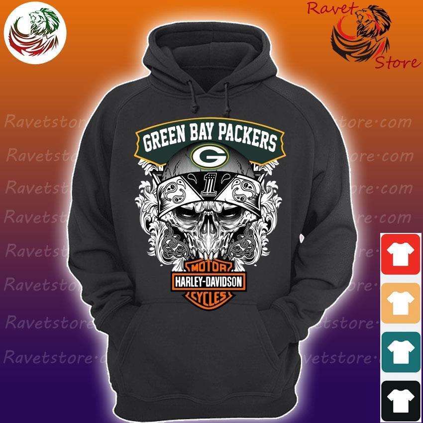 Skull Green Bay Packers vs Motor Harley Davidson s Hoodie