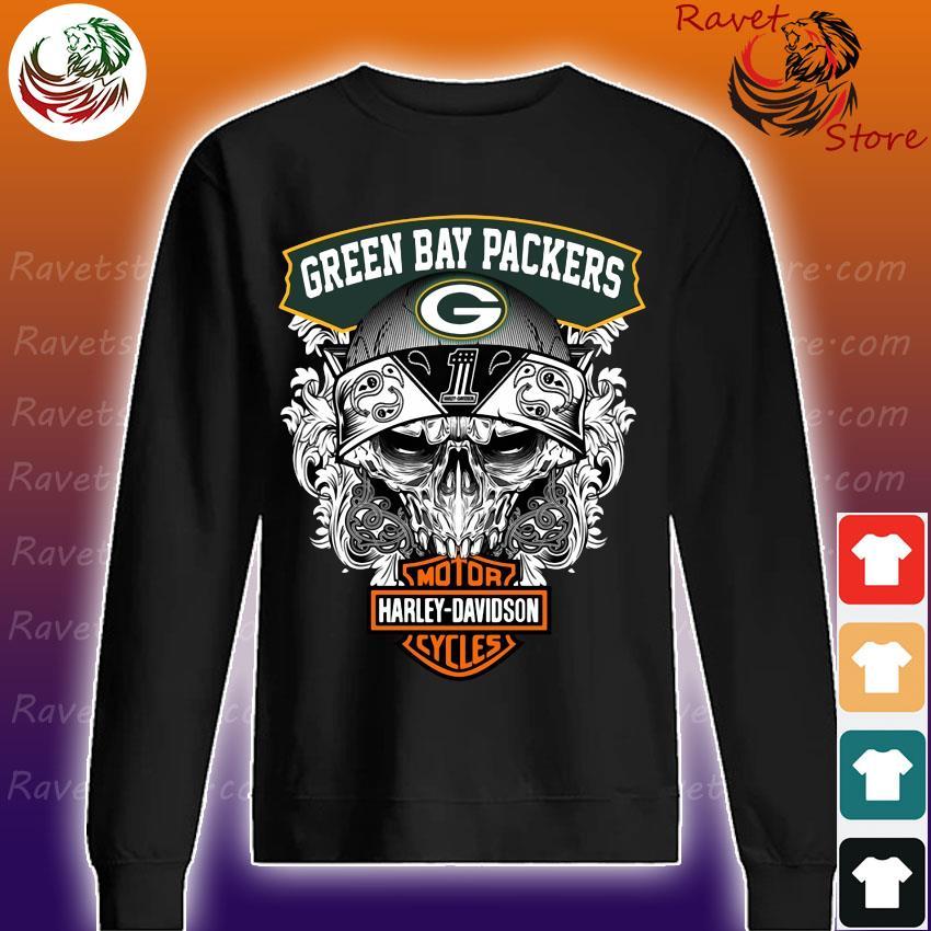 Skull Green Bay Packers vs Motor Harley Davidson s Sweatshirt