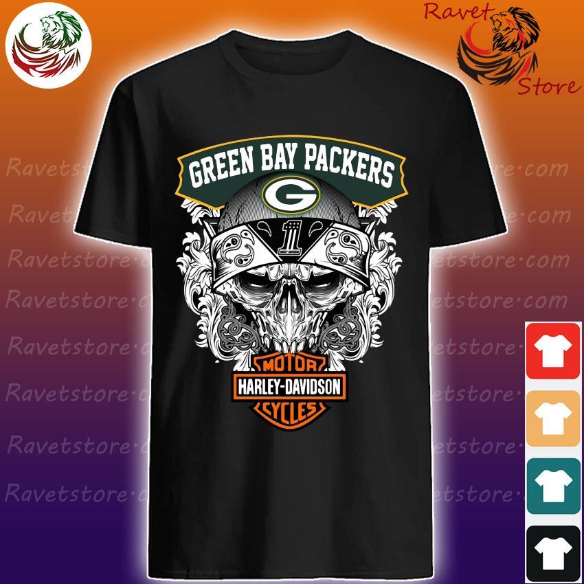 Skull Green Bay Packers vs Motor Harley Davidson shirt