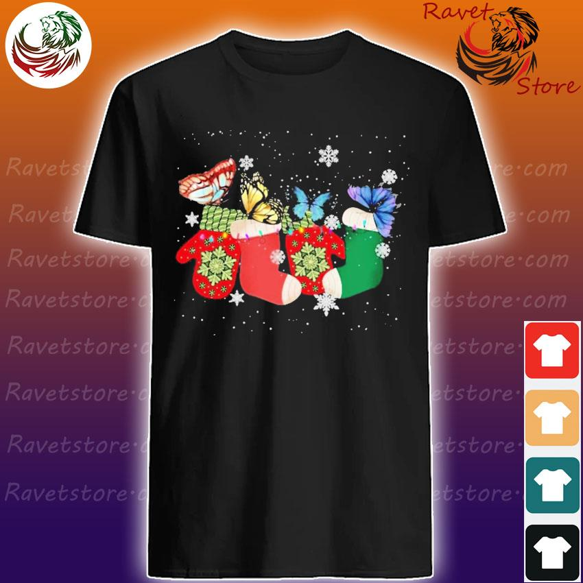 Ugly Christmas socks Butterflies shirt