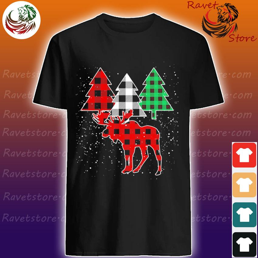 Moose Buffalo plaid Christmas shirt