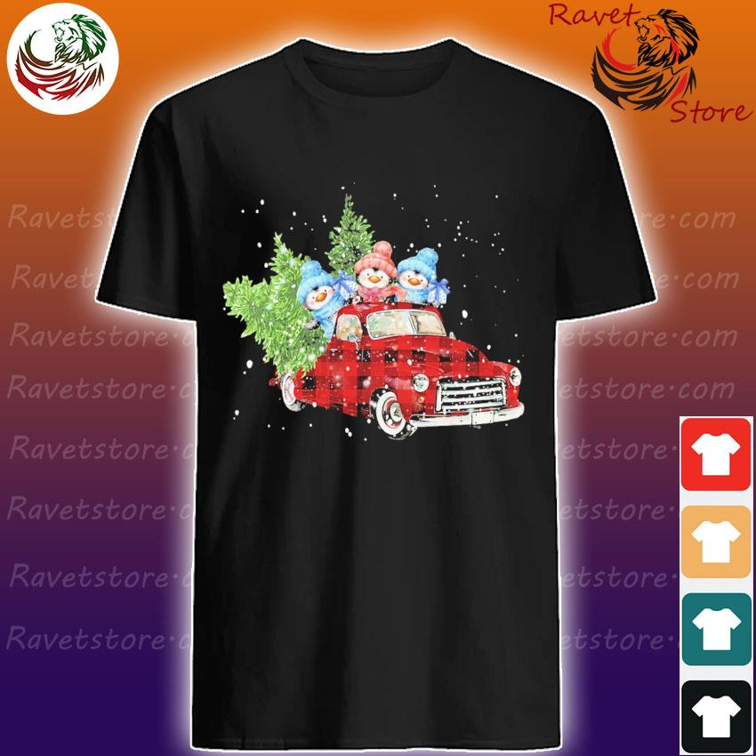 Penguin On Red Plaid Truck Merry Christmas shirt