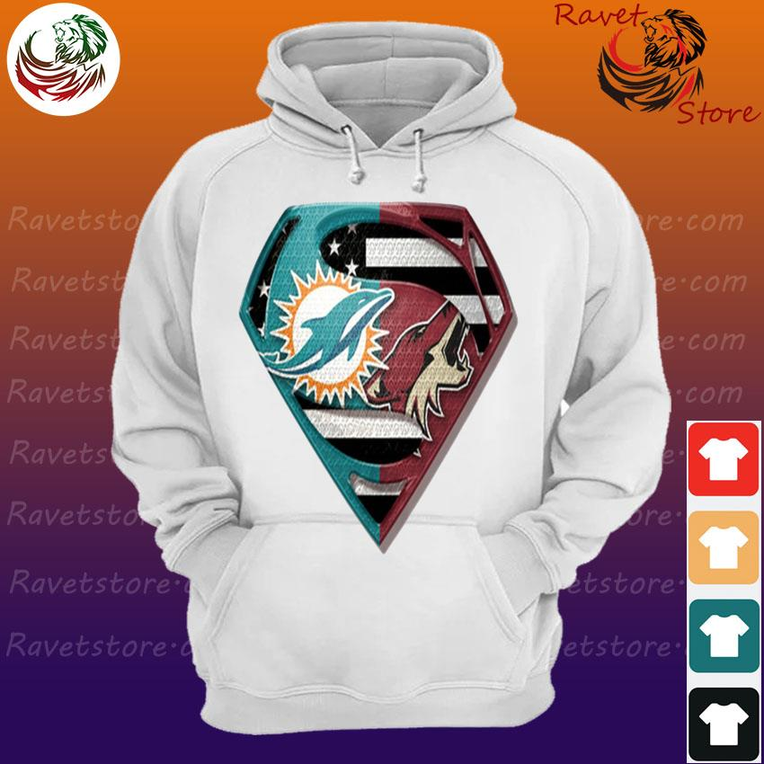 Superman Miami Dolphins vs Arizona Coyotes 2020 s Hoodie