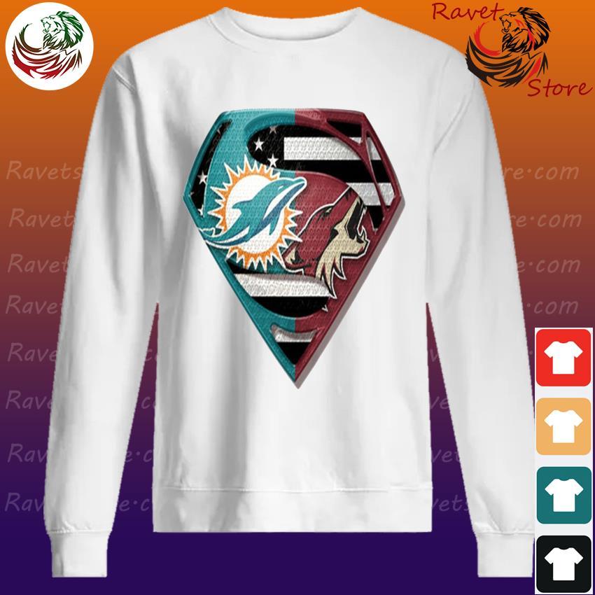 Superman Miami Dolphins vs Arizona Coyotes 2020 s Sweatshirt