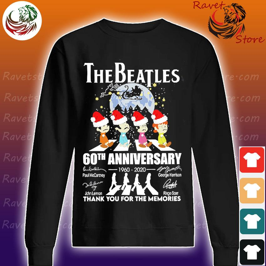 The Santa Beatles 60th anniversary 1960 2020 thank You for the memories signatures christmas s Sweatshirt
