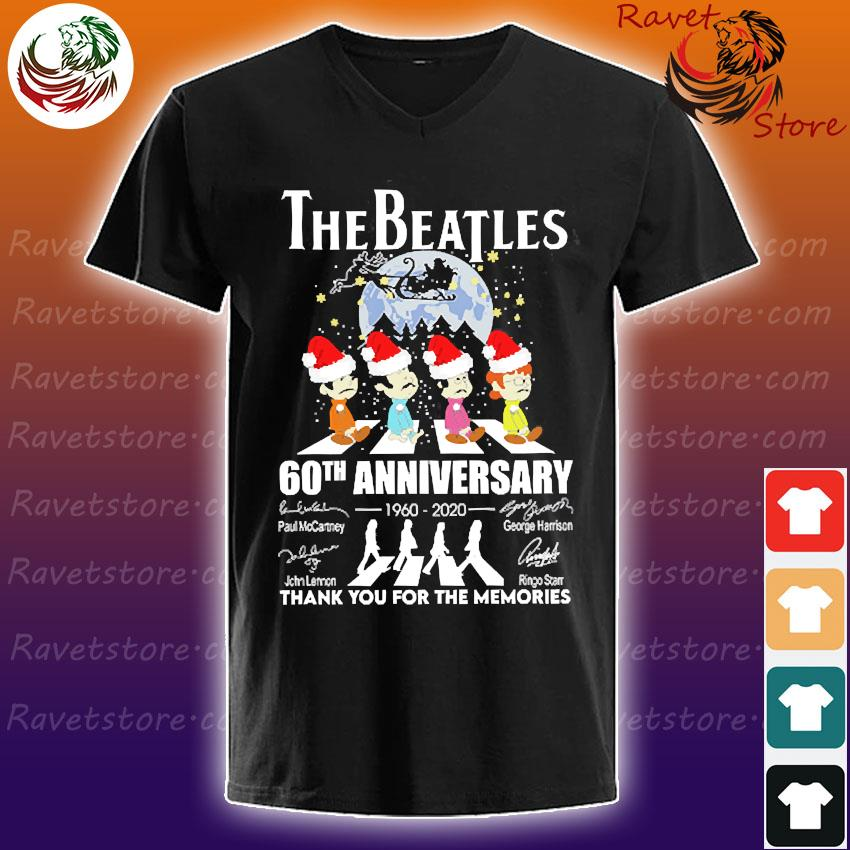 The Santa Beatles 60th anniversary 1960 2020 thank You for the memories signatures christmas s V-Neck