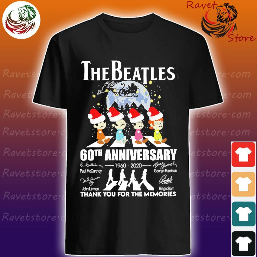 The Santa Beatles 60th anniversary 1960 2020 thank You for the memories signatures christmas shirt